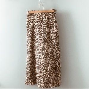 Shein Split Thigh Leopard Skirt